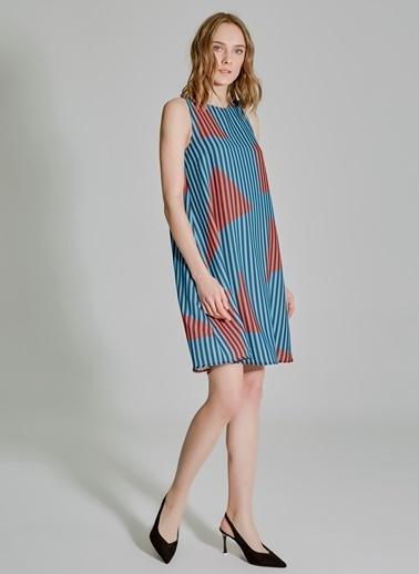People By Fabrika Bol Kesim Desenli Elbise Mavi